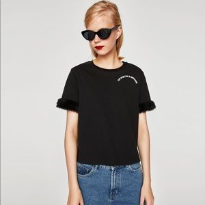 New with tags ZARA Black Faux Fur Sleeve T-shirt